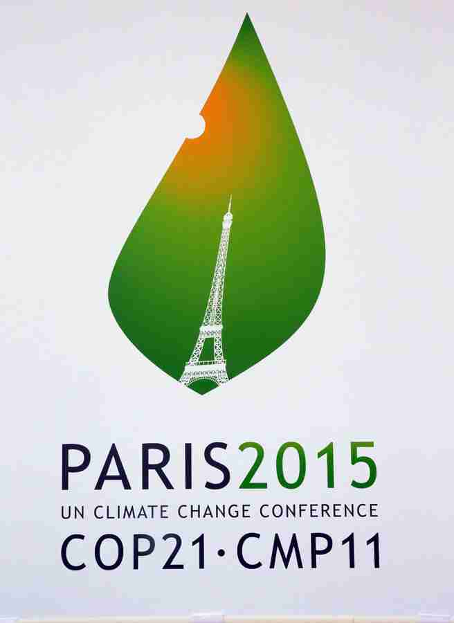 A picture taken on January 14, 2015 shows the logo of the upcoming UN Climate Change Conference, the Cop 21 summit in Paris, on January 14, 2015.   AFP PHOTO /JACQUES DEMARTHON